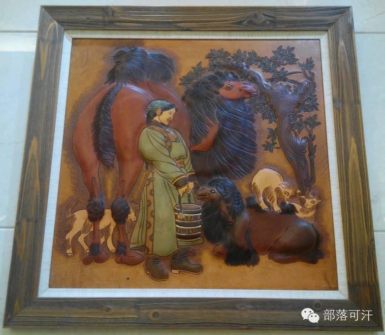 蒙古族皮画皮雕艺术欣赏 第39张 蒙古族皮画皮雕艺术欣赏 蒙古工艺