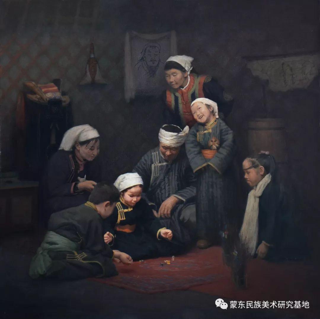 朝鲁门油画作品——中国少数民族美术促进会,蒙东民族美术研究基地画家系列 第3张