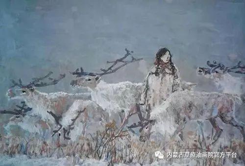 《敖乡的守望者》内蒙古草原油画院画家曾凡江油画作品选 第1张