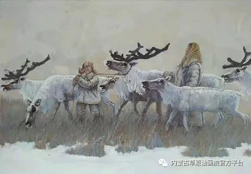《敖乡的守望者》内蒙古草原油画院画家曾凡江油画作品选 第4张