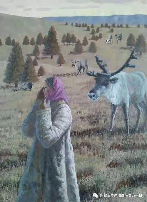 《敖乡的守望者》内蒙古草原油画院画家曾凡江油画作品选 第3张