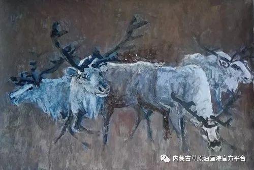 《敖乡的守望者》内蒙古草原油画院画家曾凡江油画作品选 第5张