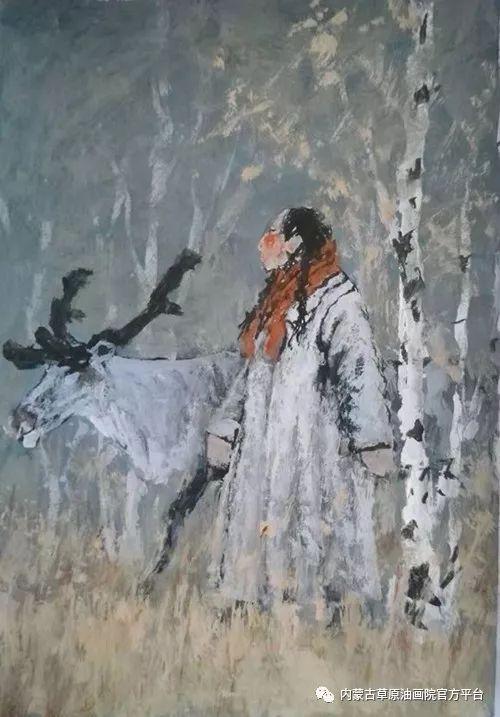 《敖乡的守望者》内蒙古草原油画院画家曾凡江油画作品选 第7张