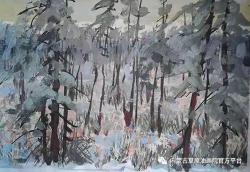 《敖乡的守望者》内蒙古草原油画院画家曾凡江油画作品选 第6张