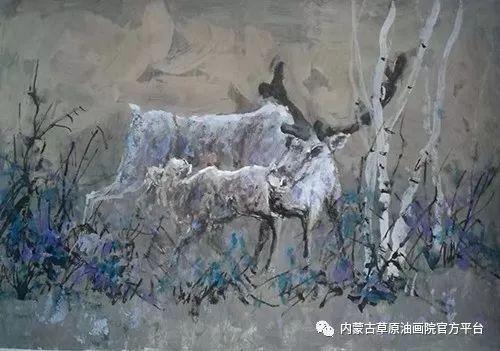 《敖乡的守望者》内蒙古草原油画院画家曾凡江油画作品选 第11张