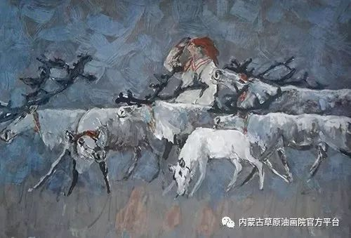 《敖乡的守望者》内蒙古草原油画院画家曾凡江油画作品选 第10张