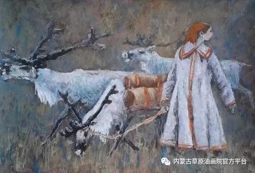 《敖乡的守望者》内蒙古草原油画院画家曾凡江油画作品选 第9张