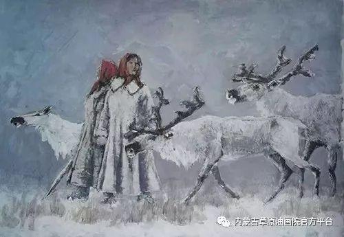 《敖乡的守望者》内蒙古草原油画院画家曾凡江油画作品选 第12张