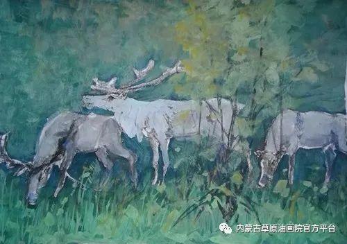 《敖乡的守望者》内蒙古草原油画院画家曾凡江油画作品选 第13张