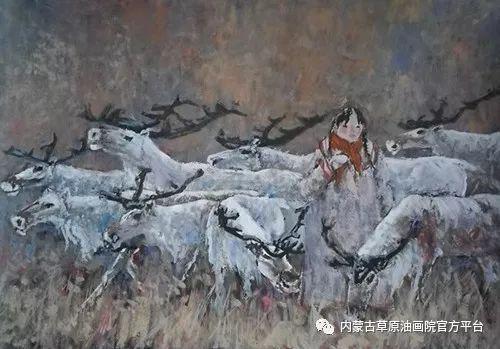 《敖乡的守望者》内蒙古草原油画院画家曾凡江油画作品选 第14张
