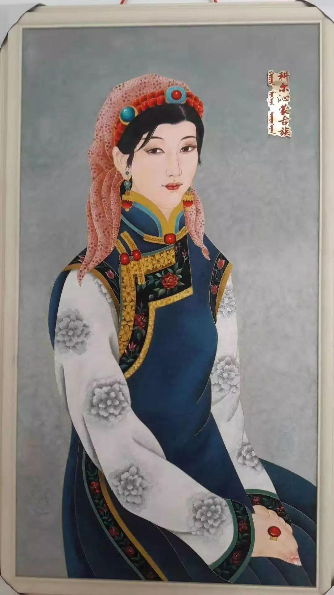 请您欣赏金丝彩岩手工艺作品——蒙古族部落妇女系列 第2张