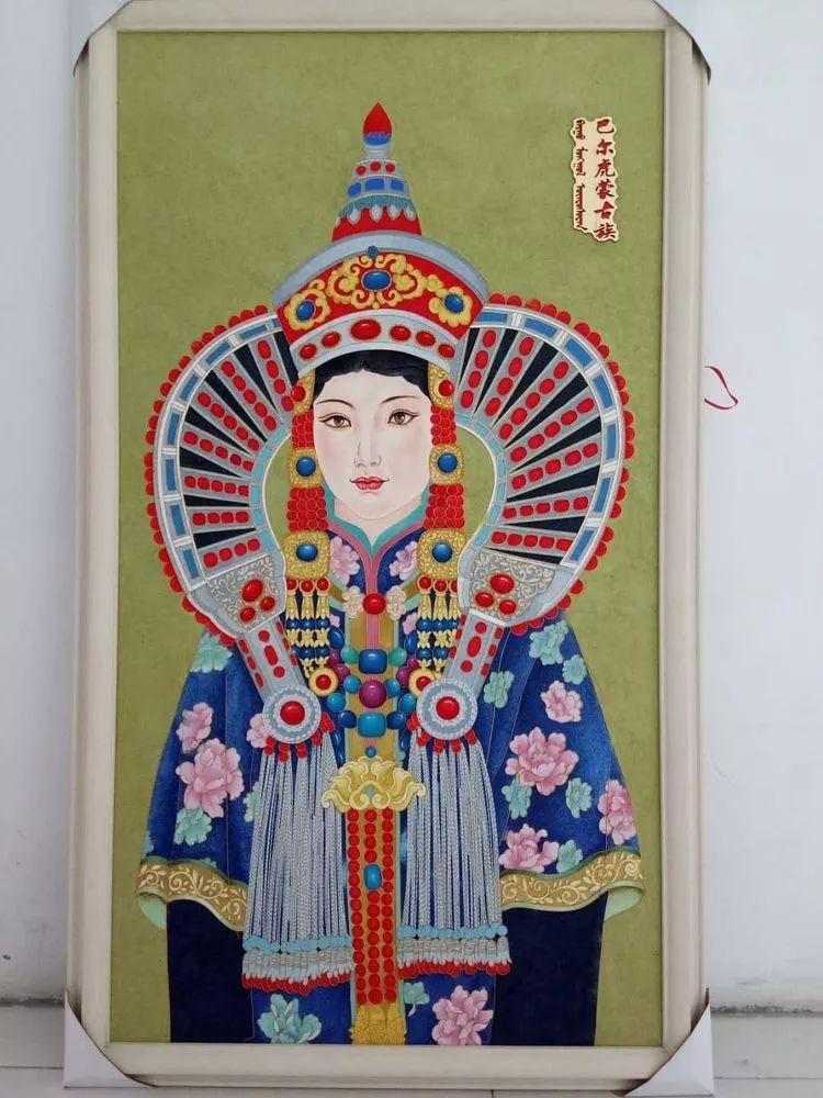 请您欣赏金丝彩岩手工艺作品——蒙古族部落妇女系列 第17张