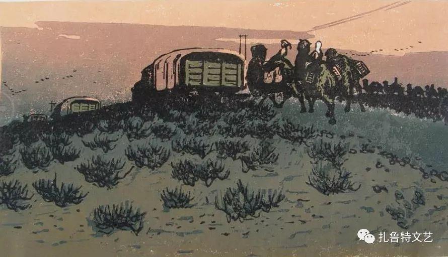 莫日根版画作品欣赏 第4张 莫日根版画作品欣赏 蒙古画廊