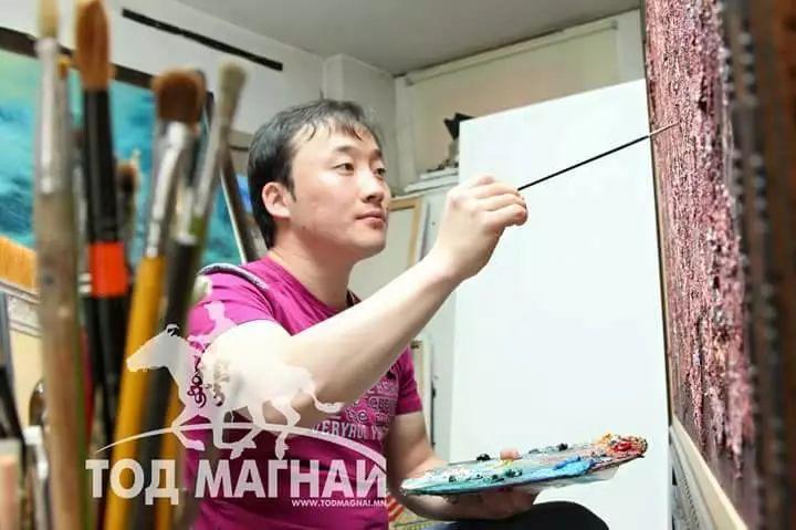 画家道尔吉德日木画笔下的蒙古马,简直栩栩如生