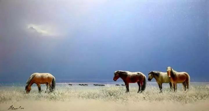 画家道尔吉德日木画笔下的蒙古马,简直栩栩如生 第4张