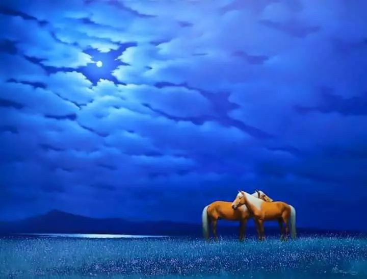 画家道尔吉德日木画笔下的蒙古马,简直栩栩如生 第7张