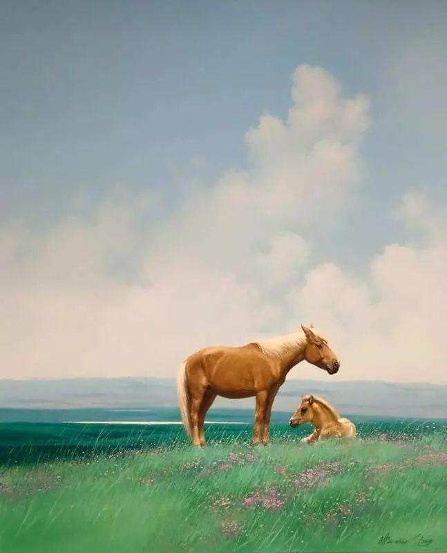 画家道尔吉德日木画笔下的蒙古马,简直栩栩如生 第10张