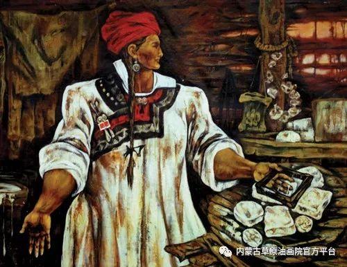 内蒙古草原油画院画家哨布
