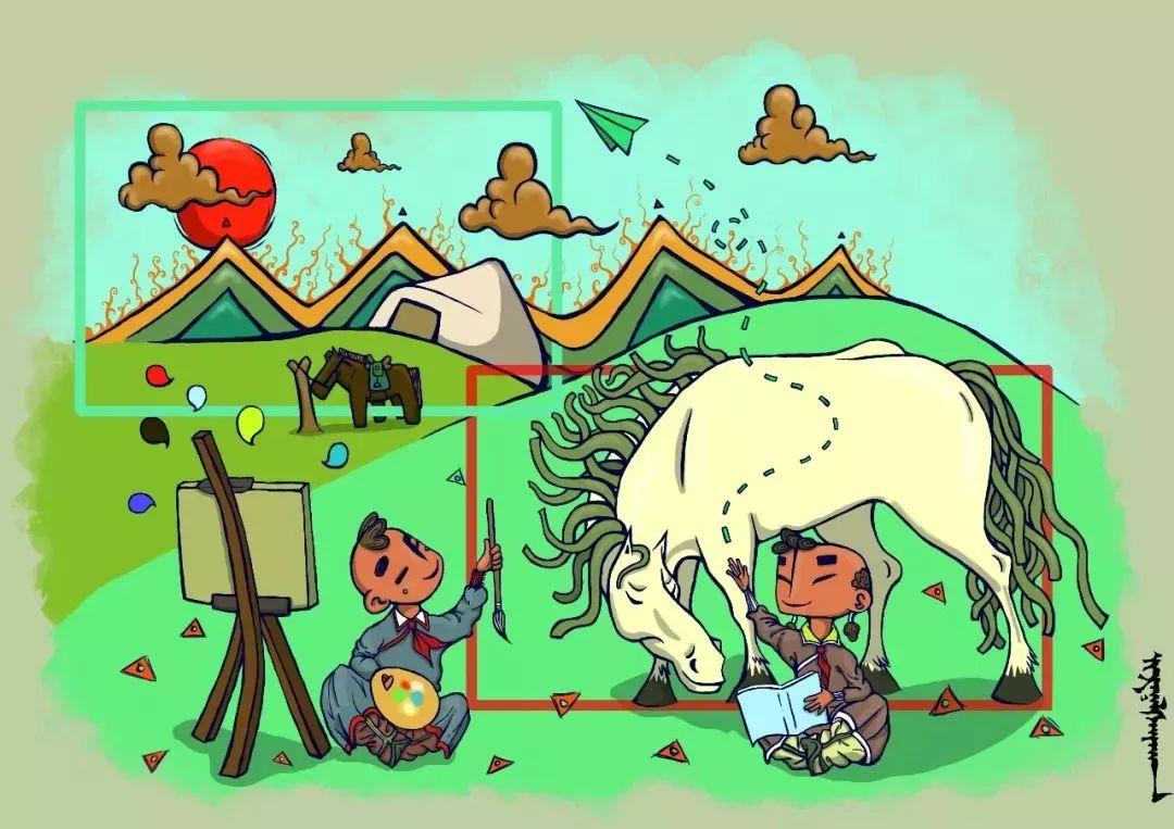 蒙古插画 第13张 蒙古插画 蒙古画廊