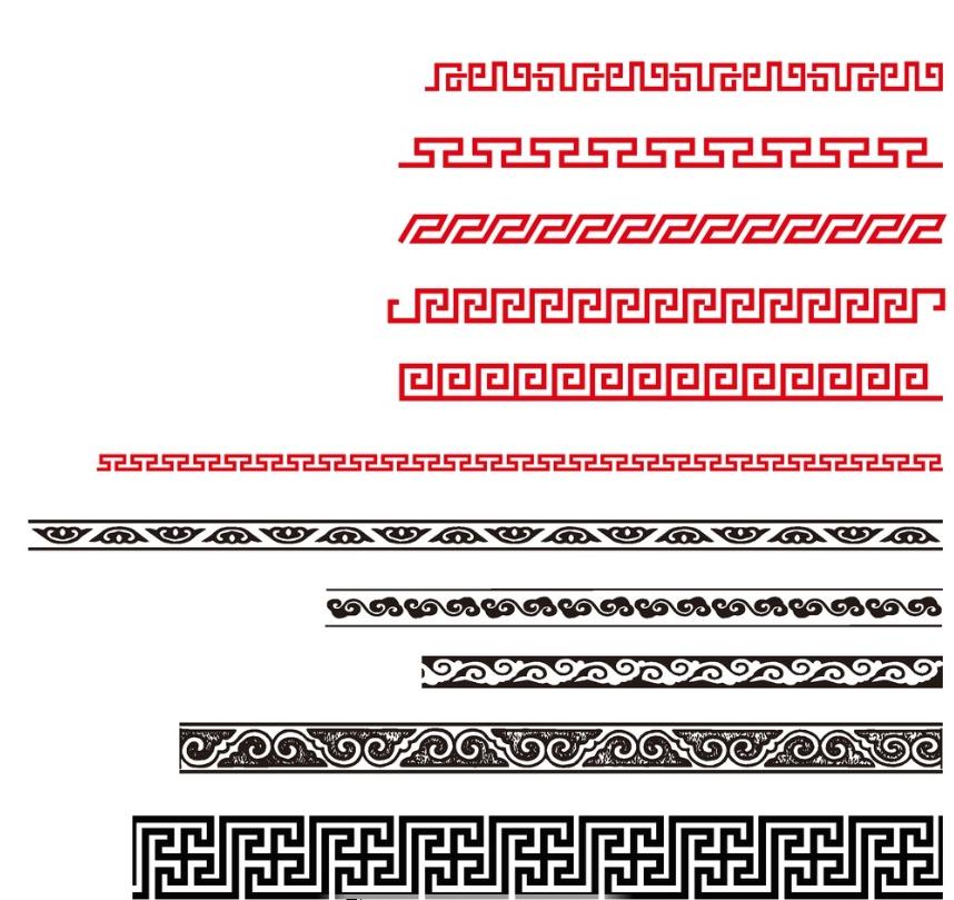长条纹理 横条纹理 蒙古传统纹图片 第1张