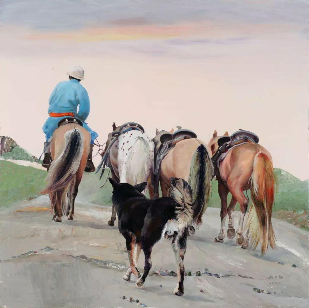 心灵深处的绿色草原 ——蒙古族画家乌日娜的油画 第13张