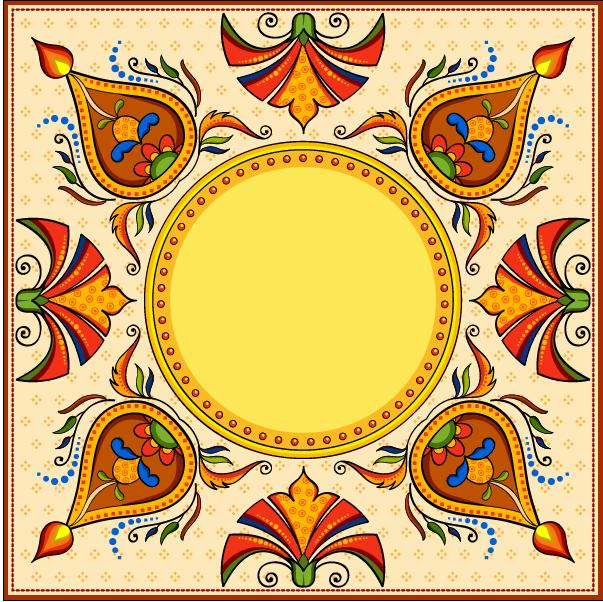 蒙古族花纹底纹图案 古典圆形镂空中式边框素材AI矢量 第2张