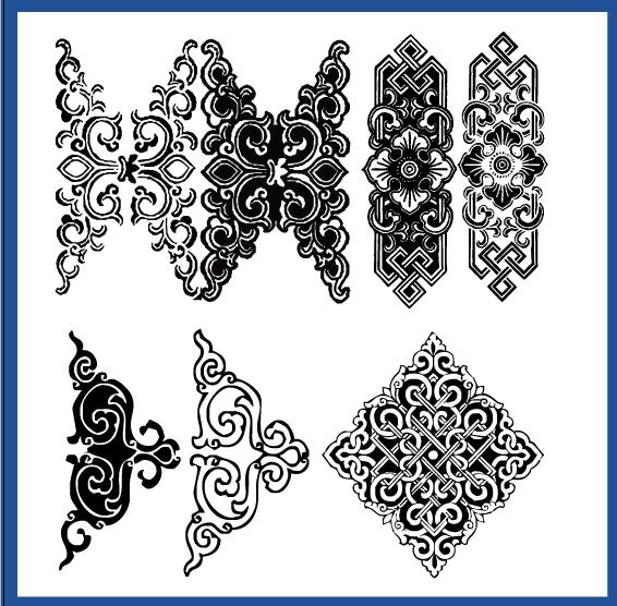 蒙古族花纹底纹图案 古典圆形镂空中式边框素材AI矢量 第9张