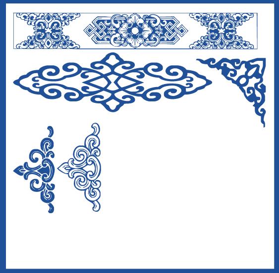 蒙古族花纹底纹图案 古典圆形镂空中式边框素材AI矢量 第4张