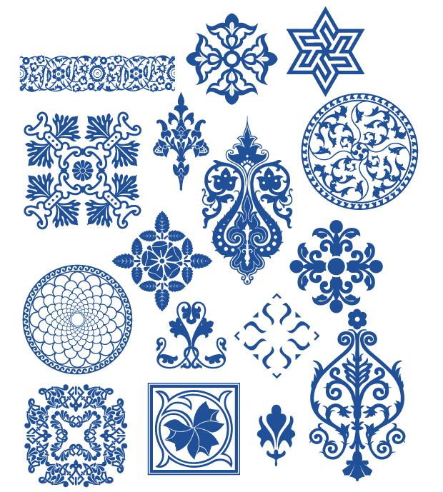 蒙古族花纹底纹图案 古典圆形镂空中式边框素材AI矢量 第7张