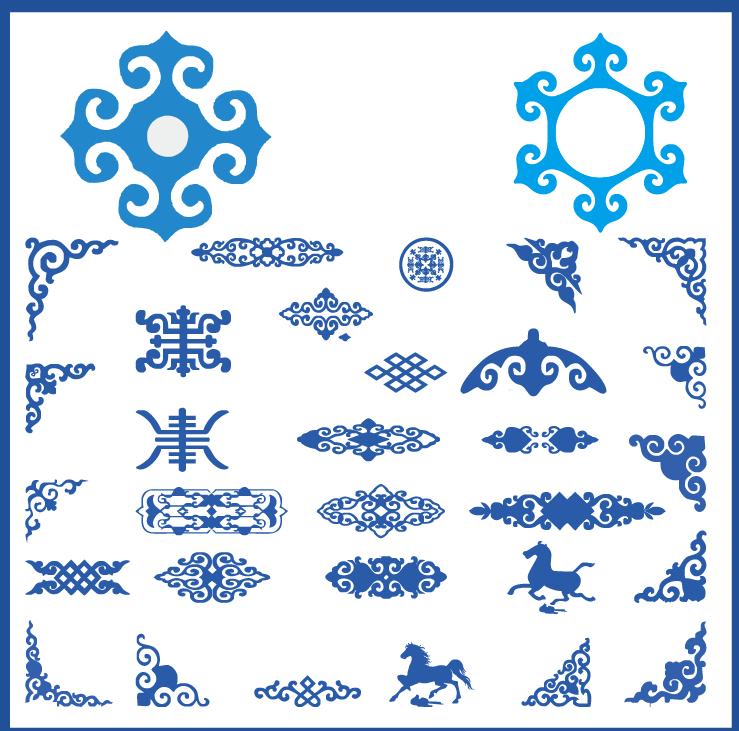 蒙古族花纹底纹图案 古典圆形镂空中式边框素材AI矢量 第10张