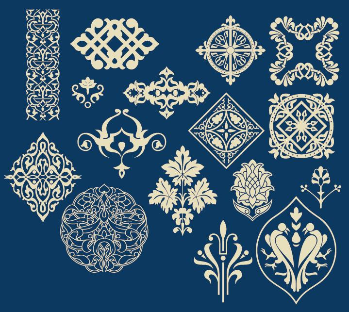 蒙古族花纹底纹图案 古典圆形镂空中式边框素材AI矢量 第5张