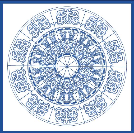 蒙古族花纹底纹图案 古典圆形镂空中式边框素材AI矢量 第14张
