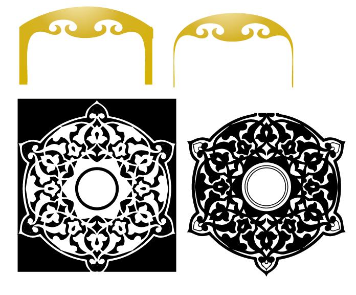 蒙古族花纹底纹图案 古典圆形镂空中式边框素材AI矢量 第16张