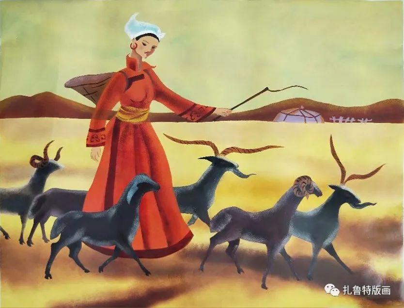哈斯高娃版画作品欣赏 第3张 哈斯高娃版画作品欣赏 蒙古画廊