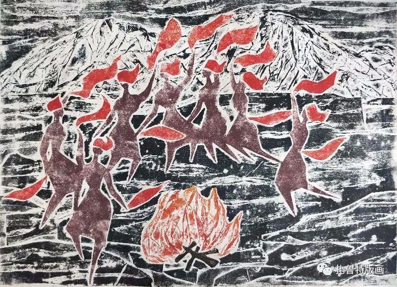 哈斯高娃版画作品欣赏 第5张 哈斯高娃版画作品欣赏 蒙古画廊