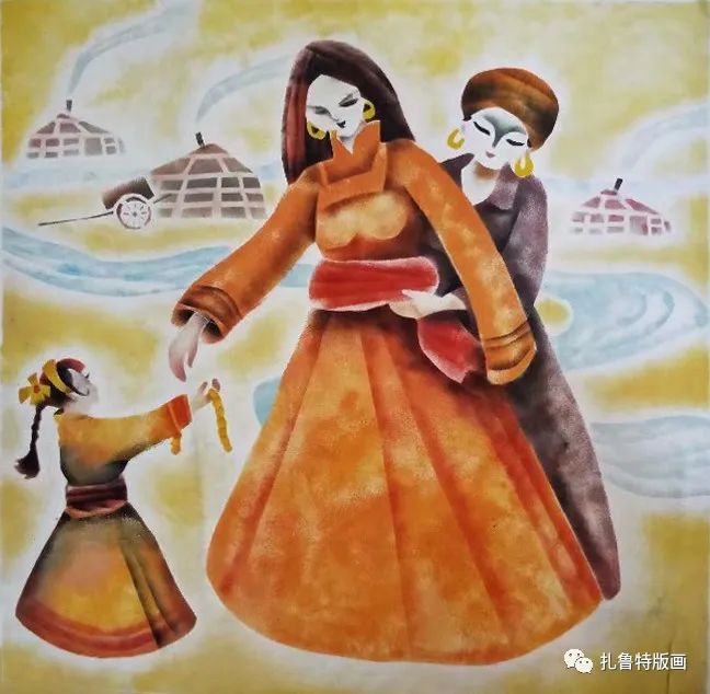 哈斯高娃版画作品欣赏 第4张 哈斯高娃版画作品欣赏 蒙古画廊