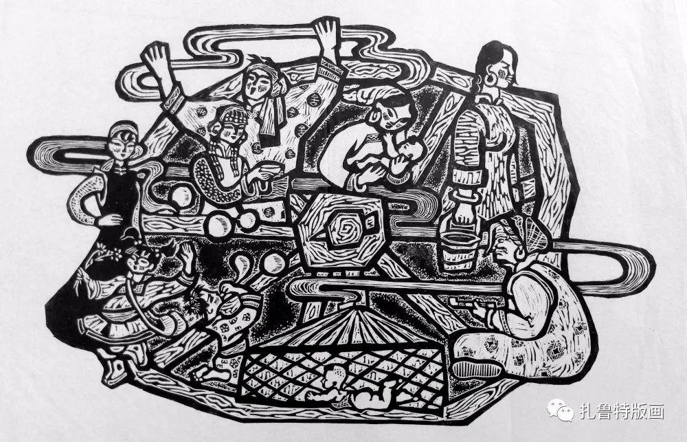 哈斯高娃版画作品欣赏 第7张 哈斯高娃版画作品欣赏 蒙古画廊