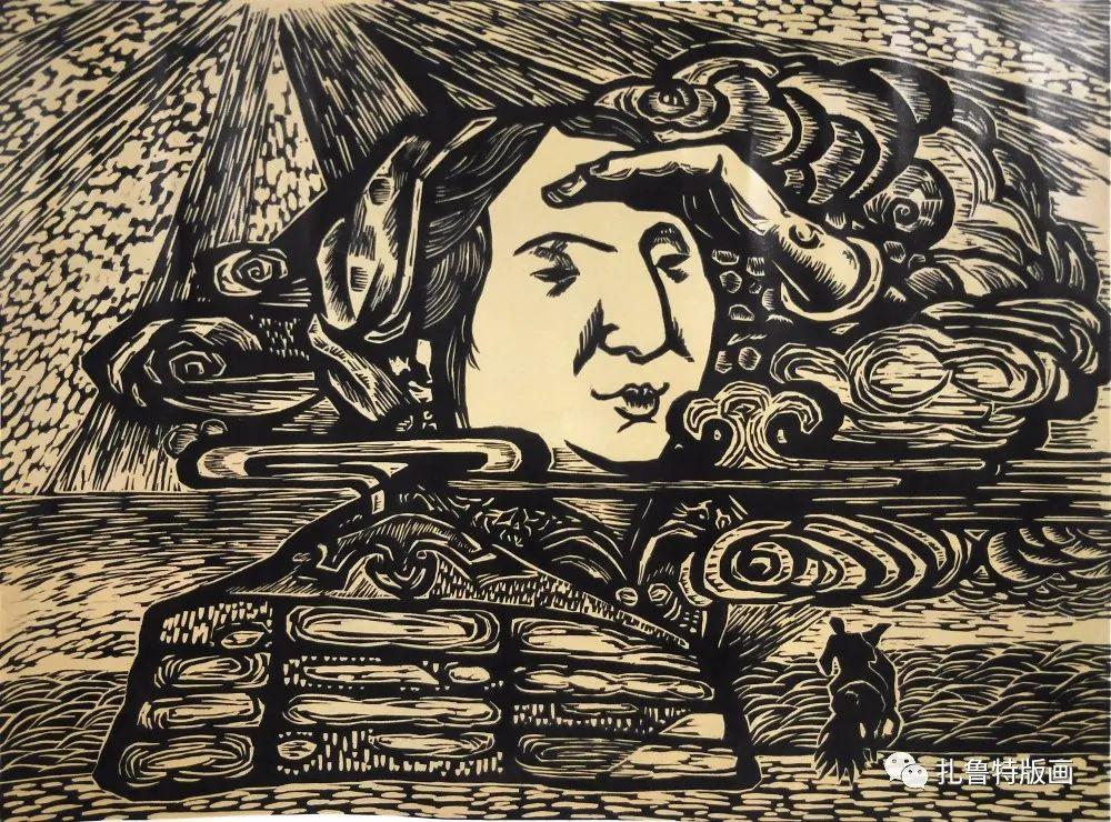 哈斯高娃版画作品欣赏 第8张 哈斯高娃版画作品欣赏 蒙古画廊