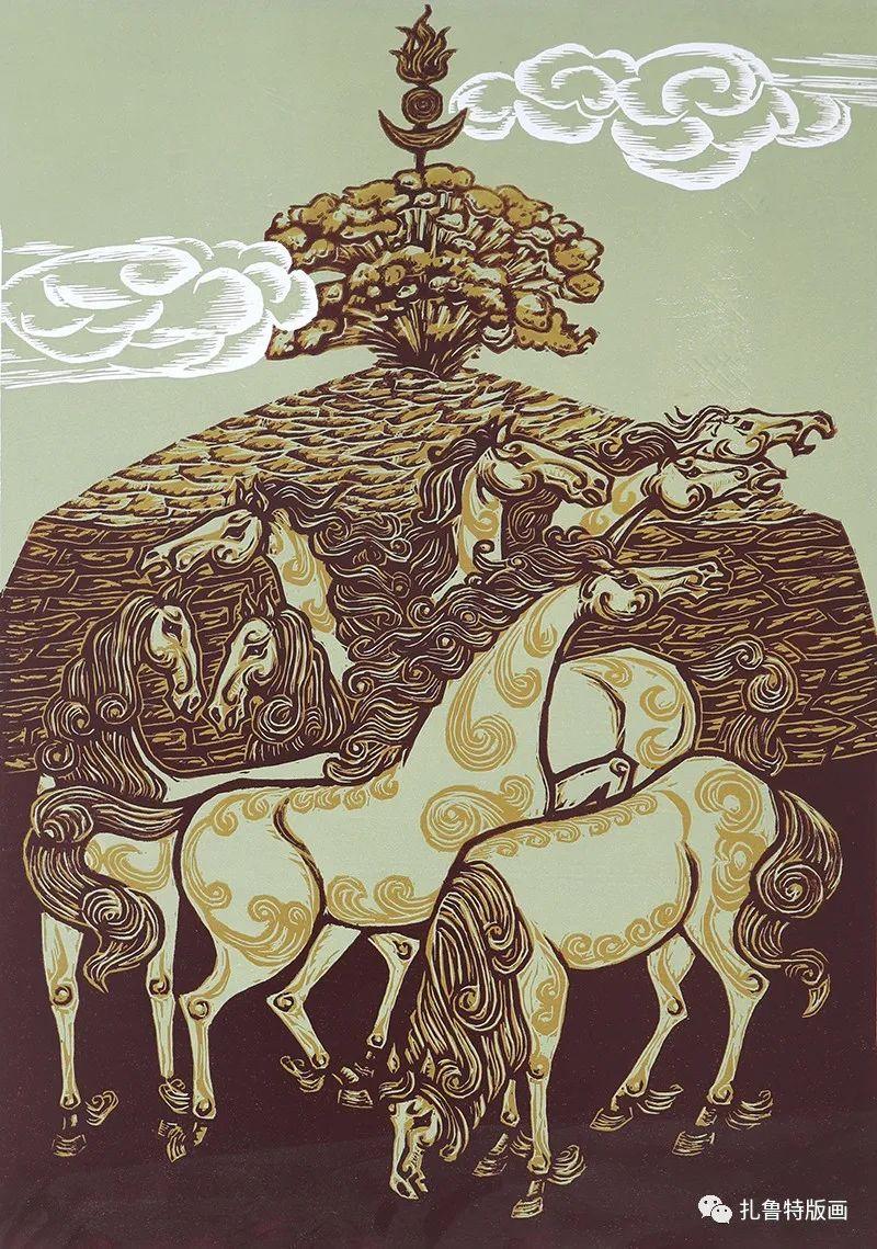哈斯高娃版画作品欣赏 第11张 哈斯高娃版画作品欣赏 蒙古画廊