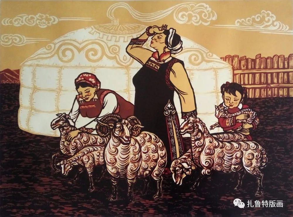 哈斯高娃版画作品欣赏 第10张 哈斯高娃版画作品欣赏 蒙古画廊