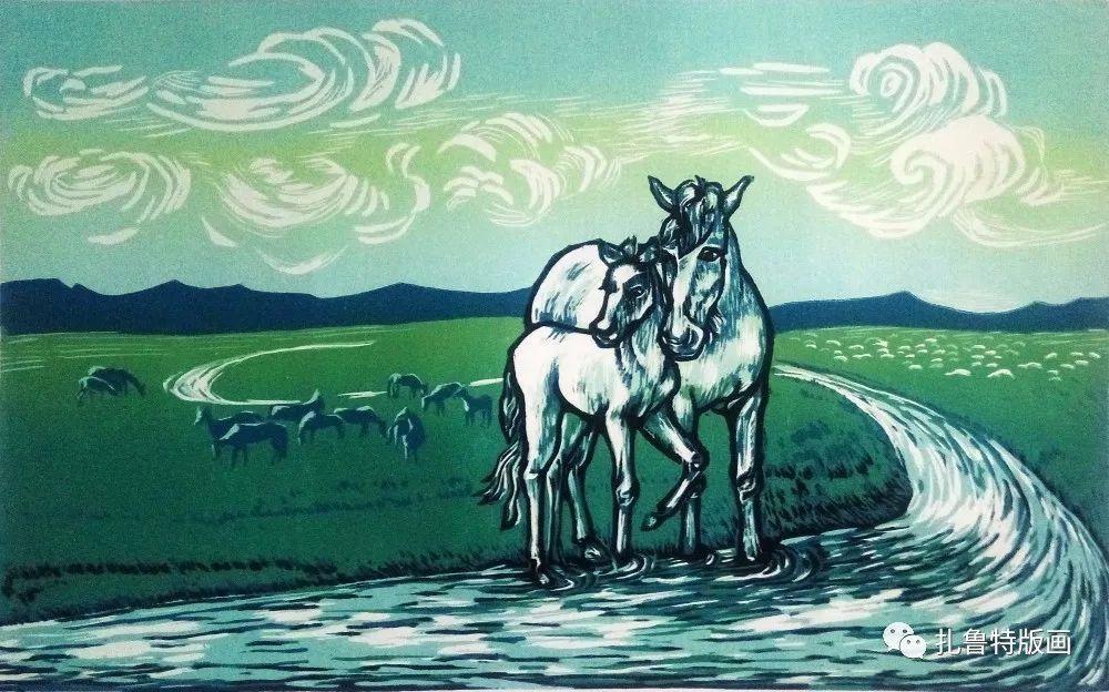 哈斯高娃版画作品欣赏 第13张 哈斯高娃版画作品欣赏 蒙古画廊
