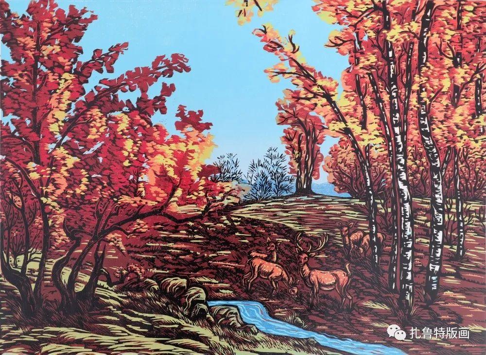 哈斯高娃版画作品欣赏 第20张 哈斯高娃版画作品欣赏 蒙古画廊