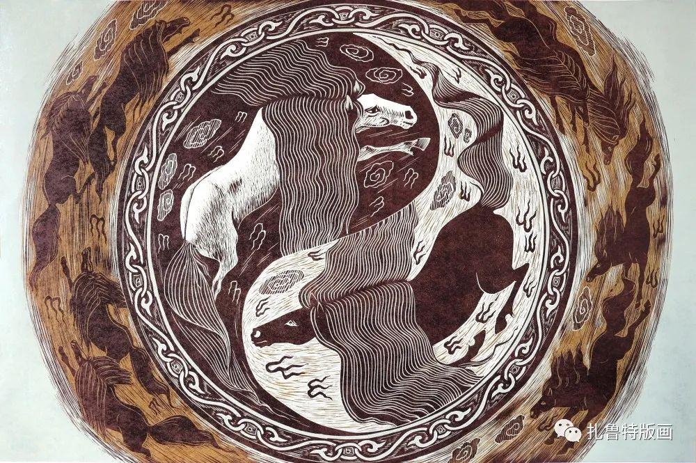 扎鲁特旗牧民版画家照那木拉作品欣赏 第5张 扎鲁特旗牧民版画家照那木拉作品欣赏 蒙古画廊