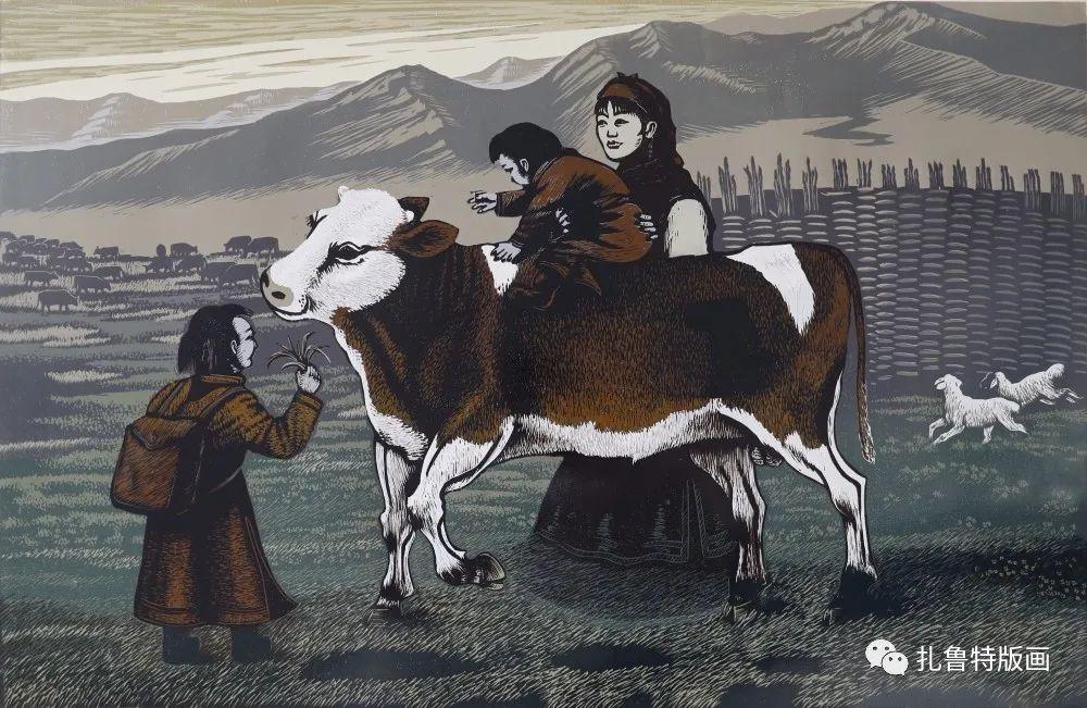 扎鲁特旗牧民版画家照那木拉作品欣赏 第4张 扎鲁特旗牧民版画家照那木拉作品欣赏 蒙古画廊