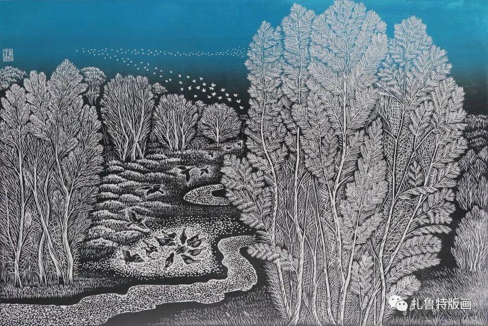 扎鲁特旗牧民版画家照那木拉作品欣赏 第11张 扎鲁特旗牧民版画家照那木拉作品欣赏 蒙古画廊