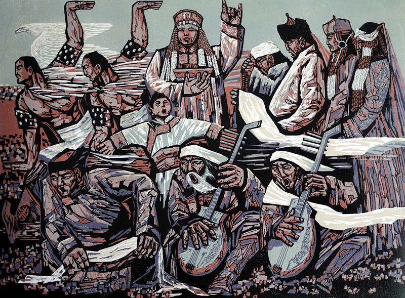 达尔罕草原文化瑰宝——科左中旗版画 第9张 达尔罕草原文化瑰宝——科左中旗版画 蒙古画廊