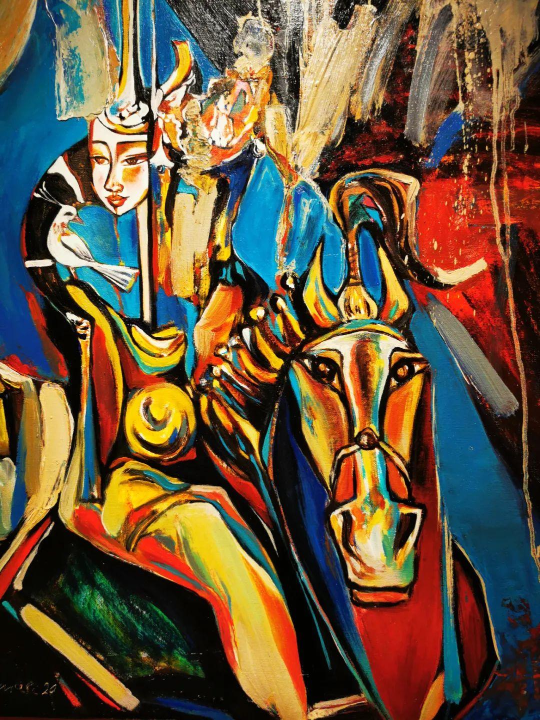 疫情期间蒙古国艺术家莫德格玛在中国创作了80余幅画作 第8张