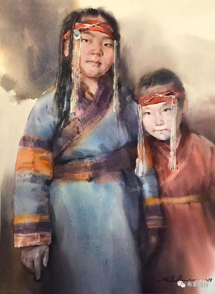 蒙古国少有的水彩画大师孟赫巴特尔作品欣赏 第23张 蒙古国少有的水彩画大师孟赫巴特尔作品欣赏 蒙古画廊