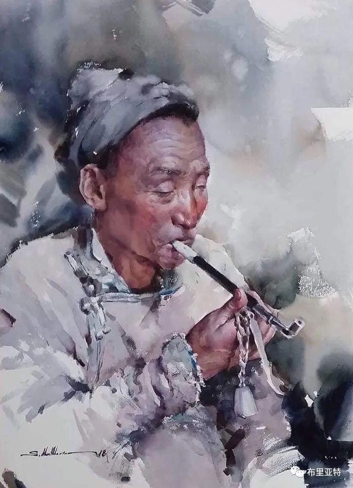 蒙古国少有的水彩画大师孟赫巴特尔作品欣赏 第34张 蒙古国少有的水彩画大师孟赫巴特尔作品欣赏 蒙古画廊