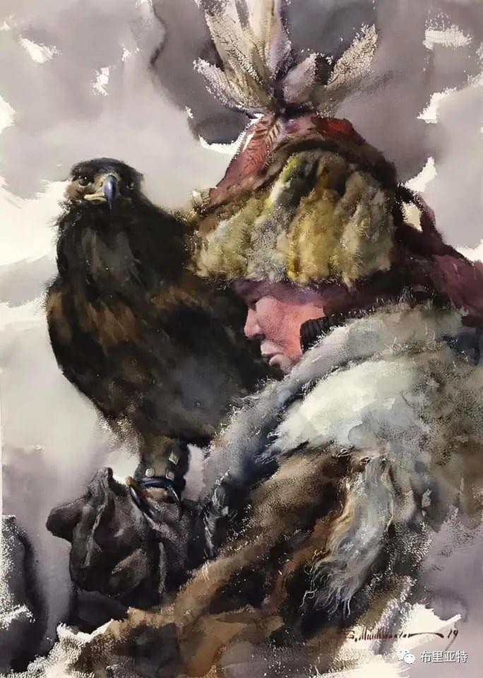 蒙古国少有的水彩画大师孟赫巴特尔作品欣赏 第46张 蒙古国少有的水彩画大师孟赫巴特尔作品欣赏 蒙古画廊